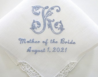 Mother of the Bride Handkerchief with Lovely Open Vine Monogram / Irish Linen Lace Wedding Handkerchief for Moms/ Personalized gift for mom