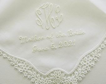 Wedding Handkerchief / wedding hankerchief / Mother of the Bride Handkerchief/ Embroidered Wedding Hankerchief with Monogram