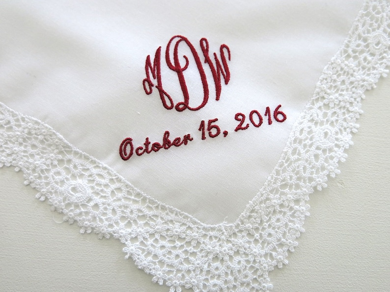 8bf67b9877 Embroidered Wedding Lace Handkerchief with a 3 initial