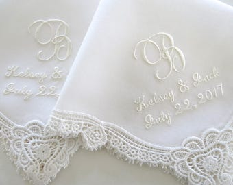 Ivory Wedding Hankerchiefs, Wedding Hankies, Names and Wedding Date Handkerchiefs, Hankerchiefs for the Bride, hankerchiefs
