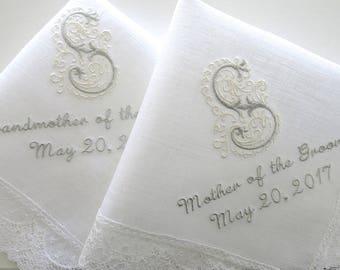 Wedding Handkerchief / wedding handkerchief / Mother of the Bride Handkerchief / Irish Linen Lace Wedding Hankie with Monogram