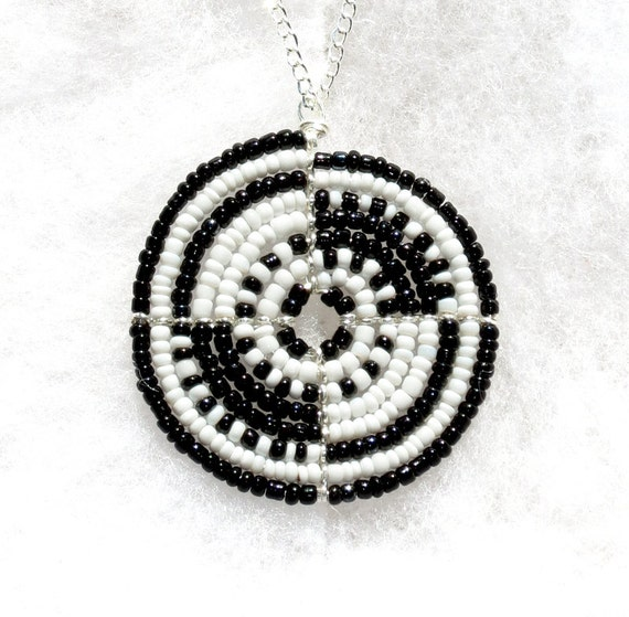 N154 Black White and Silver African Beaded Necklace