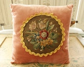 SALE-Vintage Cottage Needlepoint Pillow Peachy Velvet with Floral Hand-work Center Encircled by Velveteen Rick-rack, Classic Home Decor