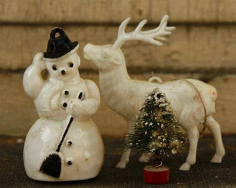 Rosbro Vintage Snowman and White Reindeer with tiny Bottle Brush Tree, Christmas Collectibles, Retro Holiday Decor, White Christmas