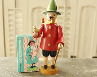 Vintage German Smoker, Erzgebirge Germany, Bird Keeper, Hand-made smoker-German Wooden Figure-German Folk Art-Incense smoker-with incense