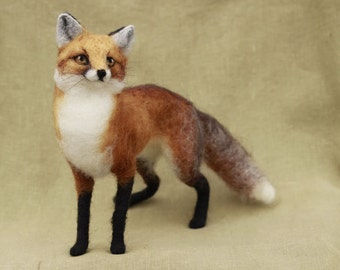 Needle felted red fox, made to order, 11-12 month turnaround time, felted woodland animal