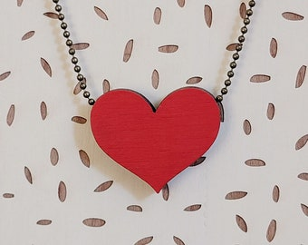 Simple heart laser cut and hand painted necklace