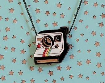 Polaroid camera laser cut and hand painted necklace