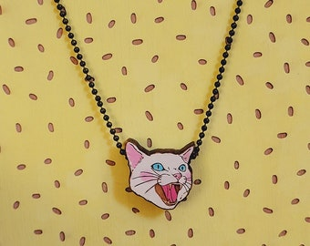 White mean cat hissing cat laser cut and hand painted necklace