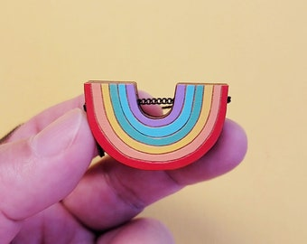 Follow the rainbow laser cut and hand painted necklace
