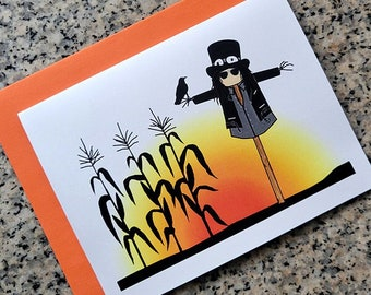 halloween harvest Slash scarecrow cards / notecards / thank you notes (blank/custom inside) with envelopes set of 10