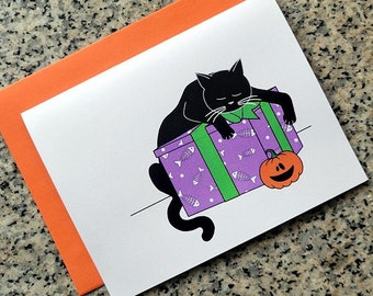sleeping black cat with pumpkin Halloween goth cards / notecards / thank you notes (blank/custom text inside) with envelopes - set of 10
