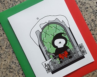 grim reaper with a snowflake holiday christmas cards, thank you notes (blank/custom inside) with envelopes - set of 10