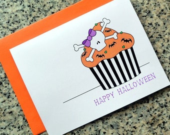 Happy Halloween skull cupcake with bats goth cards / notecards / thank you notes (blank/custom text inside) with envelopes - set of 10