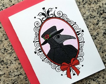 love from the plague doctor valentine love cards, thank you notes (blank/custom inside) with envelopes - set of 10