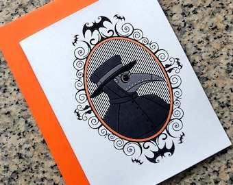 Halloween plague doctor goth cards / notecards / thank you notes (blank/custom text inside) with envelopes - set of 10