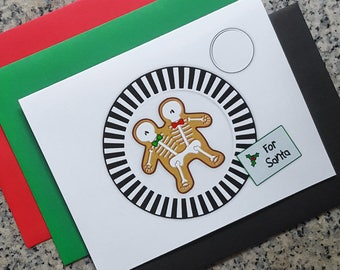 conjoined gingerdead men cookie for santa christmas cards / notecards / thank you notes (blank/custom inside) with envelopes - set of 10