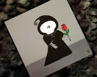 cute grim reaper with red rose true love never dies painting acrylic on gallery wrapped canvas