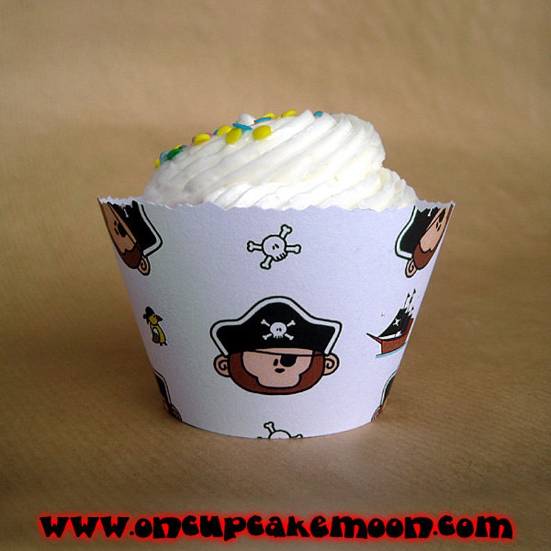monkey pirate birthday party cupcake wrappers with pirate image 0