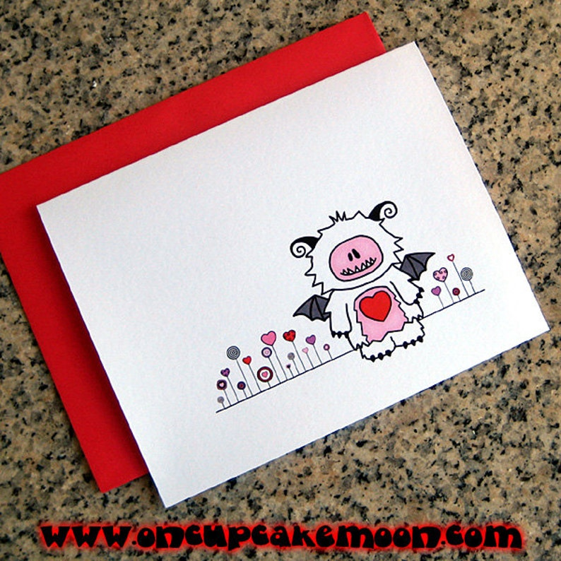 love monster and heart flower garden valentines / notecards / image 0