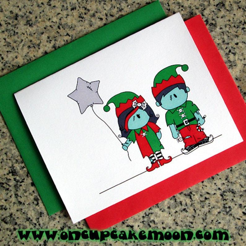 zombie elf girl & boy holiday christmas greeting cards / image 0