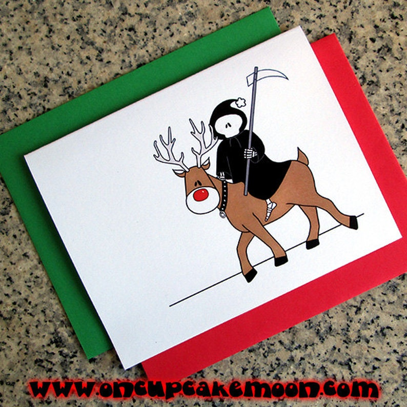 the grim reaper is coming to town christmas greeting cards / image 0