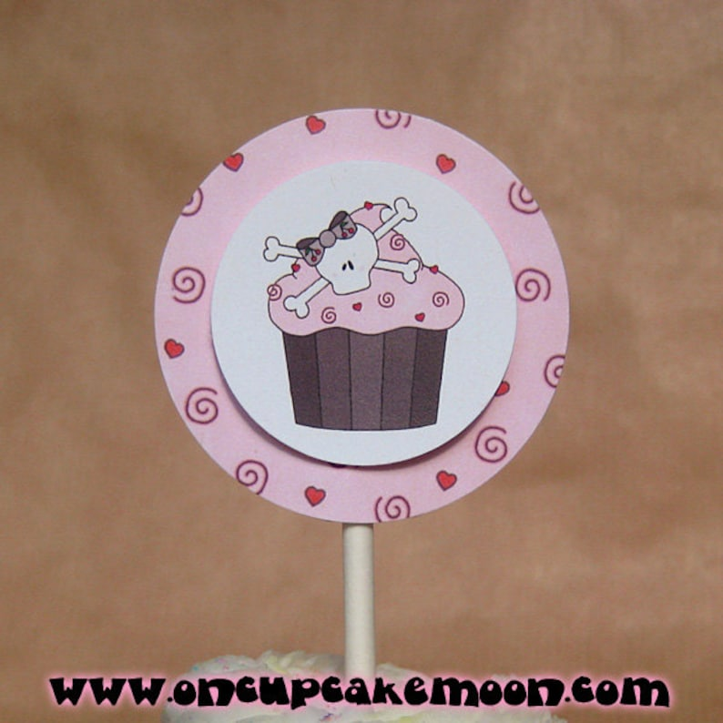 pink skull cupcake costume halloween valentine birthday party image 0