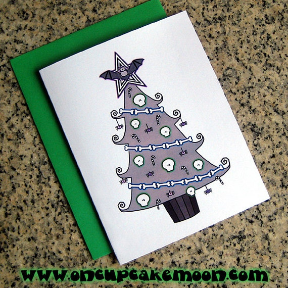 Tim Burton Christmas Tree.Tim Burton Inspired Holiday Christmas Tree Cards Notecards Thank You Notes Blank Custom Printed Inside With Envelopes Set Of 10