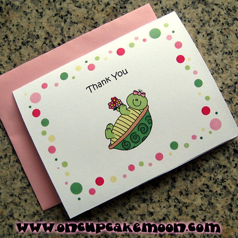 turtle girl notecards / thank you cards birthday party with image 0