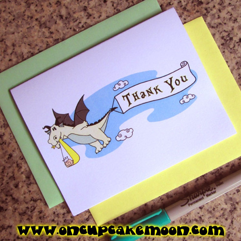 dragon stork fairy tale baby shower thank you cards for either image 0