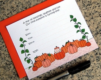 lil pumpkin 1st birthday halloween costume party lined invitations with orange envelopes DIY customizable - set of 10