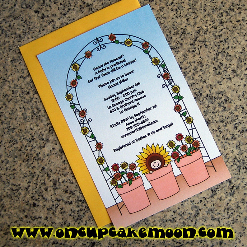 flower pot baby sunflowers baby shower invitations full sized image 0