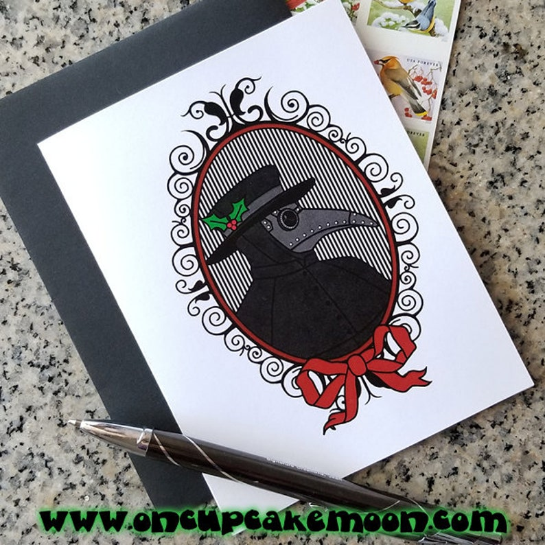 the merry plague doctor holiday christmas cards thank you image 0