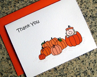 lil pumpkin baby shower 1st birthday party thank you cards with orange envelopes (blank or custom printed inside) - set of 10