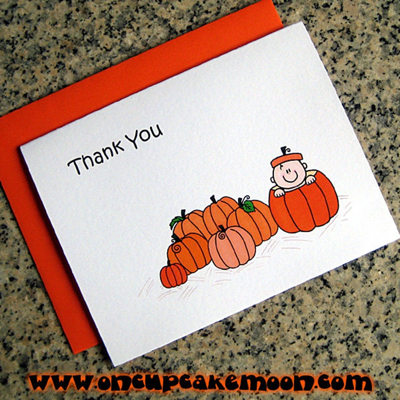 lil pumpkin baby shower 1st birthday party thank you cards image 0