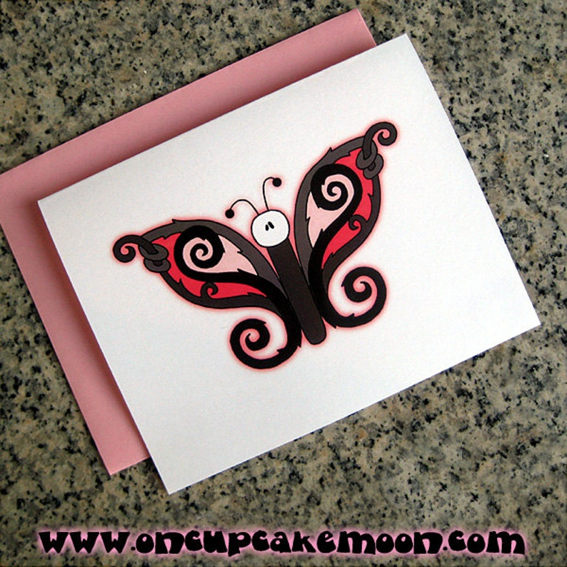 goth butterfly notecards / thank you notes blank or custom image 0