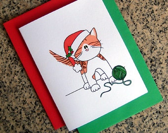 orange and white cat in santa hat holiday christmas cards (blank or custom inside) with red or green envelopes - set of 10