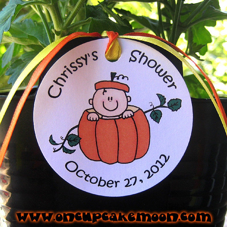 lil pumpkin custom baby shower favor tags for either boy or image 0