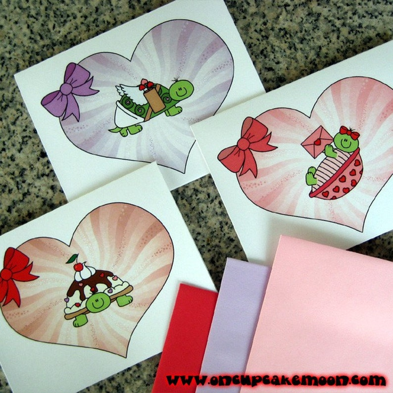 turtle love notes / notecards / valentines with colored image 0