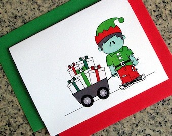 zombie boy elf holiday christmas greeting cards / notecards / thank you notes (blank or custom inside) with envelopes- set of 10