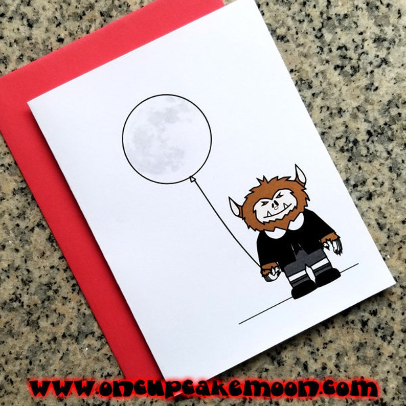 cute werewolf i'll give you the moon valentines notecards image 0