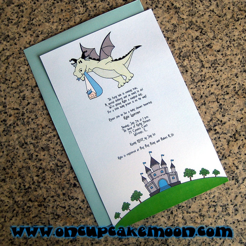 fairy tale dragon stork baby boy little prince baby shower image 0