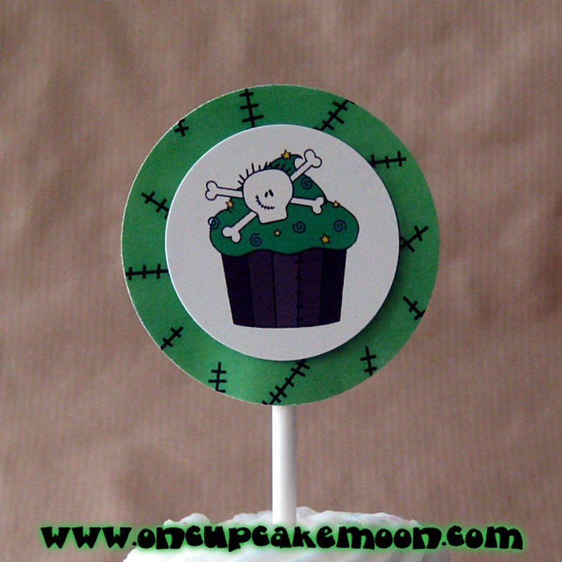 zombie skull cupcake cake toppers personalized decorations image 0