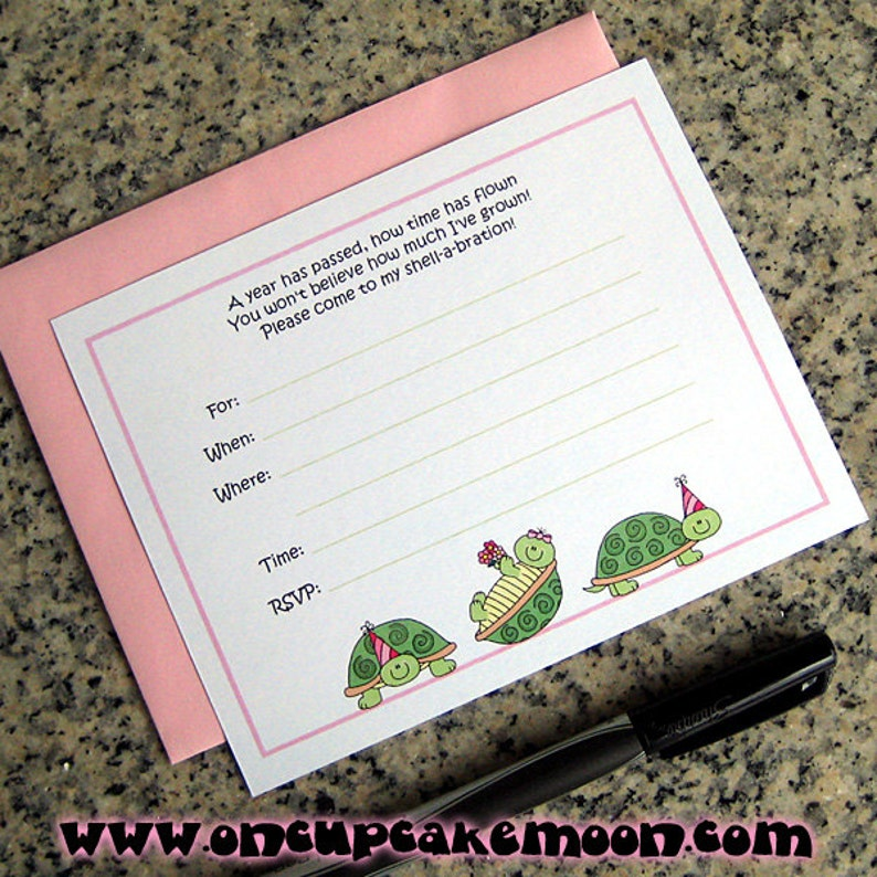 girl turtles lined birthday party invitations with pink image 0