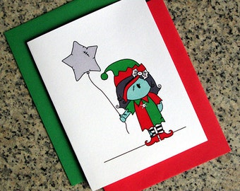 zombie girl elf holiday christmas greeting cards / notecards / thank you notes (blank or custom inside) with envelopes- set of 10