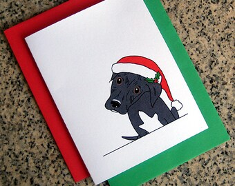 pit bull puppy dog holiday christmas cards (blank or custom printed inside) with red or green envelopes - set of 10