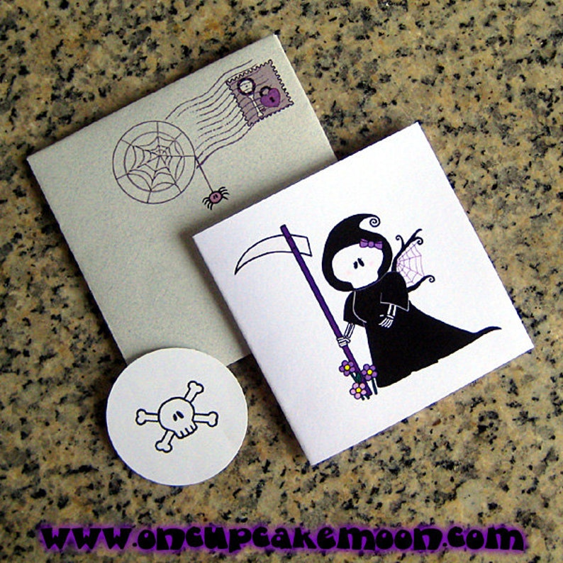 grim reaper girl angel of death custom personalized mini cards envelopes and seals with custom printed insides set of 6