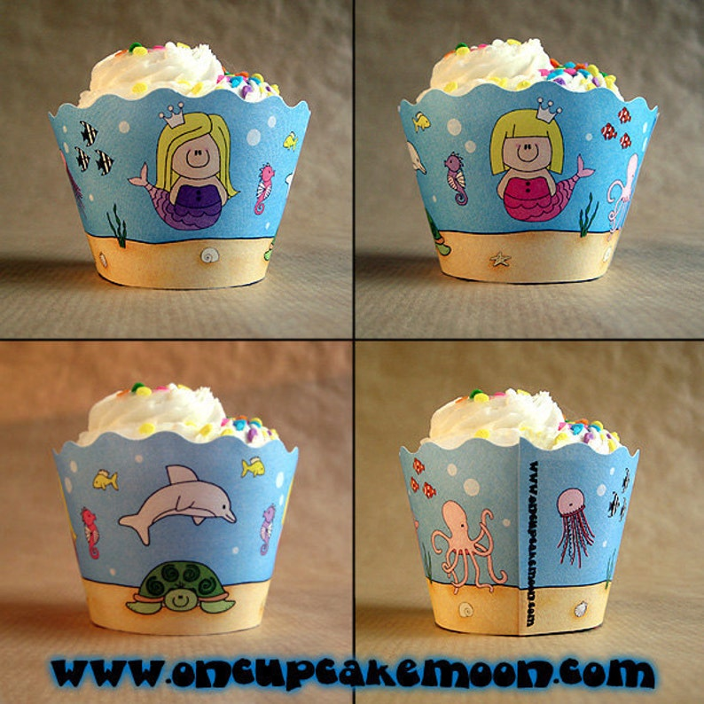 under the sea girl birthday party cupcake wrappers decorations image 0