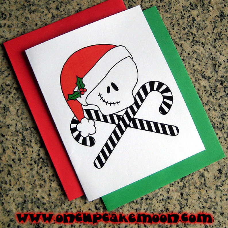 jack skellington inspired skull and crosscanes cards / image 0
