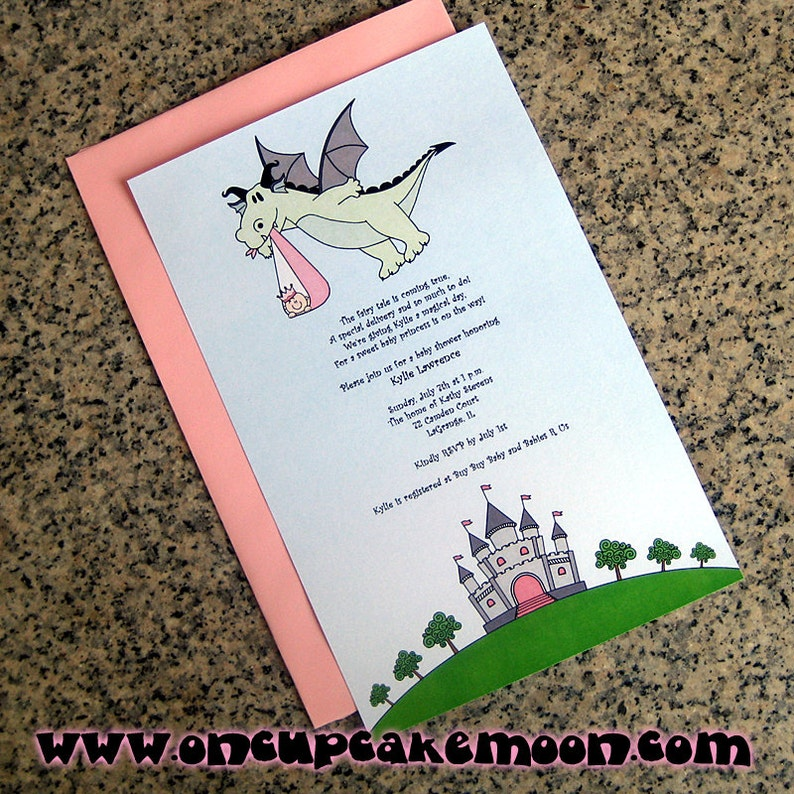 fairy tale dragon stork baby girl little princess baby shower image 0